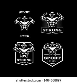 Vintage strong man. Muscular man with a vintage mustache. Vector illustration.