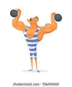Vintage Strongman. Ancient athlete. Retro bodybuilder barbell. Strong power Circus actor.