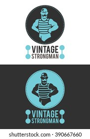 Vintage Strongman is a modern, elegant and exclusive logo or badge. He represents a strong man in a retro style. It is a logo usable in multiple companies and businesses.