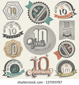 Vintage style 10 anniversary collection. Ten anniversary design in retro style. Vintage labels for anniversary greeting. Hand lettering style typographic and calligraphic symbols for 10 anniversary.