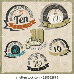 Vintage style 10 anniversary sign collection. Ten anniversary card design in retro style.