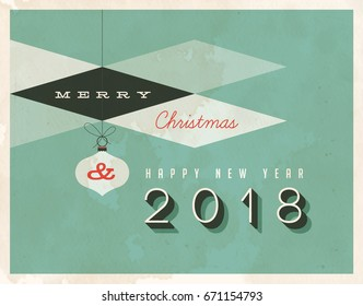 Vintage style 2018 greetings card - Vector EPS10. Grunge effects can be easily removed for a brand new, clean sign
