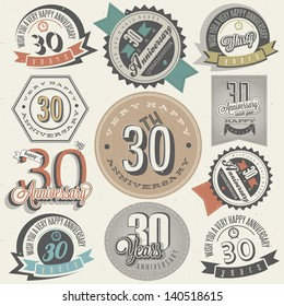 Vintage style 30 anniversary collection. Thirty anniversary design in retro style. Vintage labels for anniversary greeting. Hand lettering style typographic and calligraphic symbols for 30 anniversary