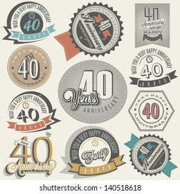 Vintage style 40 anniversary collection. Forty anniversary design in retro style. Vintage labels for anniversary greeting. Hand lettering style typographic and calligraphic symbols for 40 anniversary.