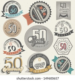 Vintage style 50 anniversary collection. Fifty anniversary design in retro style. Vintage labels for anniversary greeting. Hand lettering style typographic and calligraphic symbols for 50 anniversary.