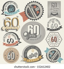 Vintage style 60th anniversary collection. Sixty anniversary design in retro style. Vintage labels for anniversary greeting. Hand lettering style typographic and calligraphic anniversary symbols