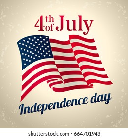 Vintage style american Independence Day design - banner or poster for web, print and other projects, USA waving flag, 4th of july celebration, vector template.