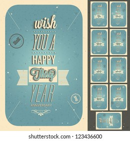 Vintage style anniversary design collection. Set of typographic inscriptions design for anniversary. Vector calligraphic anniversary cards design in retro style.