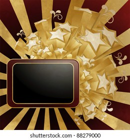 Vintage style background with  frame and golden stars
