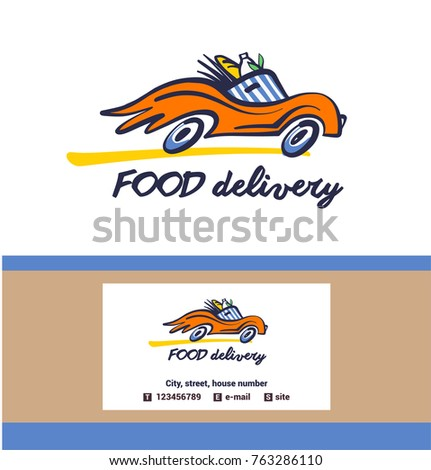 Vintage Style Badge Food Delivery Service Stock Vector Royalty Free
