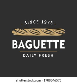 Vintage style bakery shop simple label, badge, emblem, logo template. Graphic food art with engraved baguette design vector element with typography. Linear organic bread on black background.