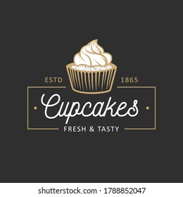 Vintage style bakery shop simple label, badge, emblem, logo template. Graphic food art with engraved cupcake design vector element with typography. Linear organic pastry on black background.