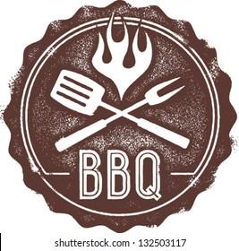 Vintage Style BBQ Barbecue Menu Stamp