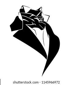 vintage style black necktie costume - 19th century male fashion vector design
