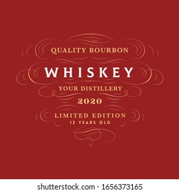 Vintage Style Bourbon Whiskey Label decorated with Flourishes