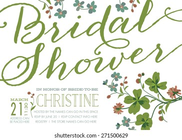 Modern bridal shower invitation images stock photos vectors vintage style bridal shower invitation with clover flowers template vector filmwisefo