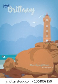 Vintage style Brittany tourism poster with Ploumanach lighthouse at pink granite coast