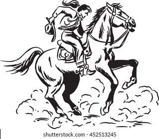 Vintage style brush and ink sketch of a Western Cowgirl riding a wild horse
