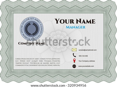 Vintage Style Business Card Complex Background Stock Vector Royalty