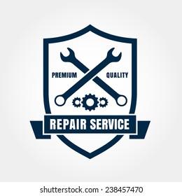Vintage style car repair service shield label. Vector logo design template. Concept for spare parts store.