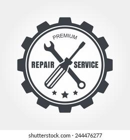 Vintage style car repair service label. Vector logo design template.
