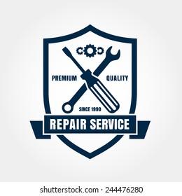 Vintage style car repair service shield label. Vector logo design template.