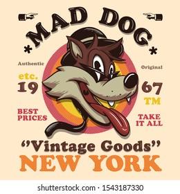 vintage style cartoon character illustration tee shirt wallpaper logo poster graphic design