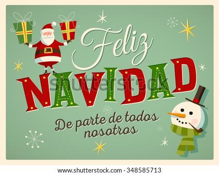 Vintage Style Christmas Card Spanish Feliz Stock Vektorgrafik