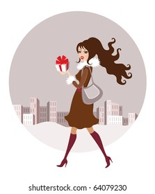 Vintage style christmas shopping vector. Illustration of beautiful fashionable girl with present box
