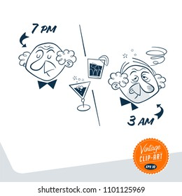 Vintage style clip art - Man perfectly sober earlier in the evening, and completely drunk late in the night - Vector EPS10