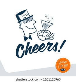 Vintage style clip art - Mid-century man holding a glass of champagne and cheering up - Vector EPS10