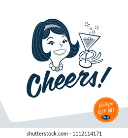 Vintage style clip art - Mid-century woman holding a glass of champagne and cheering up - Vector EPS10