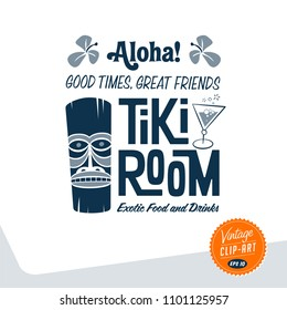 Vintage style clip art - Tiki Room Exotic Food and Drinks - Vector EPS10