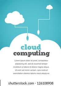 vintage style cloud computing poster