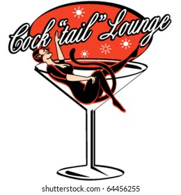 Vintage style cocktail lounge sign with a sexy pinup girl in a cat costume while sitting in a martini glass.