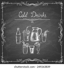 Vintage style. Collection of cold drinks hand drawn sketches on the blackboard. Vector illustration.