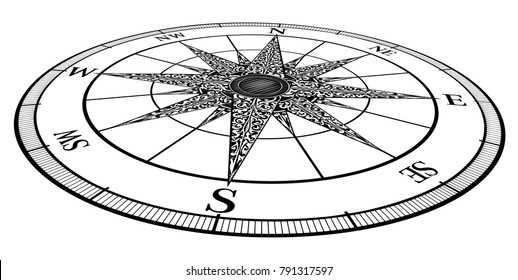 A vintage style compass rose in 3d perspective