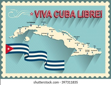 Vintage style Cuba map. Viva Cuba libre! Long live the free Cuba! Spain language. Old style poster of vacation in Cuba. Concept of travel in caribbean islands. Cuba flag.