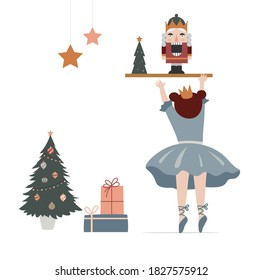 Vintage style cute Scandinavian winter concept illustration. Little ballerina trying to get nutcracker. Merry Christmas greeting card. Vector illustration
