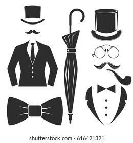 Vintage style design hipster gentleman vector illustration black silhouette design mustache element.