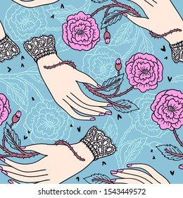 vintage style drawing. vector hand drawn seamless pattern with female hands holding prickly pink roses