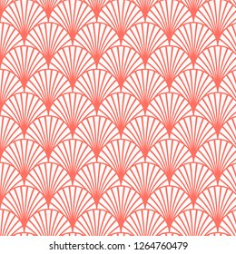 Vintage style elegant Art Deco Seamless Fan Pattern in living coral color/retro texture vector pattern.