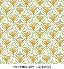 Vintage style elegant Art Deco Seamless Fan Pattern in golden/mustard color/retro texture vector pattern