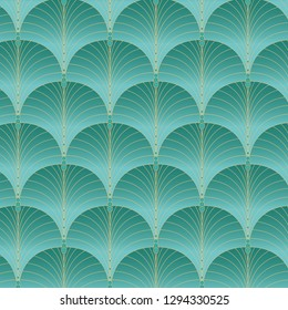 Vintage style elegant art deco fan pattern in golden and turquoise gradient /retro texture seamless vector pattern