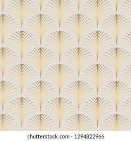 Vintage style elegant art deco repeat fan pattern/stylized palm leaf in golden metallic gradient on light background. Seamless vector fan pattern.