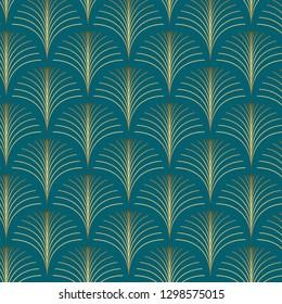 Vintage style elegant Art Deco Seamless Fan Pattern in golden metallic gradient on dark green background. Retro texture vector pattern.