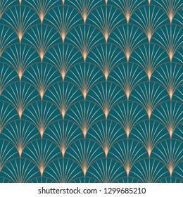 Vintage style elegant Art Deco Seamless Fan Pattern in copper metallic gradient on dark turquoise background. Retro texture vector pattern.