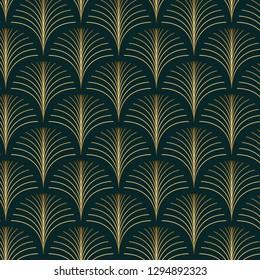 Vintage style elegant seamless art deco repeat fan pattern/stylized golden palm leaf fan pattern on dark green background