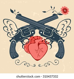 Vintage style emblem with human heart and two revolvers. Vector illustration