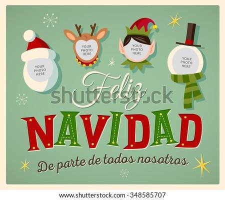 Vintage Style Family Spirit Christmas Card Stock Vector Royalty - Vintage-navidad
